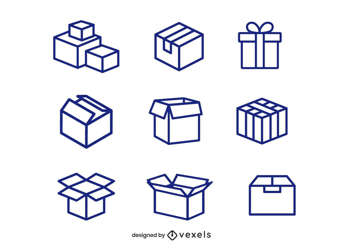 Conjunto de iconos de caja de cartón