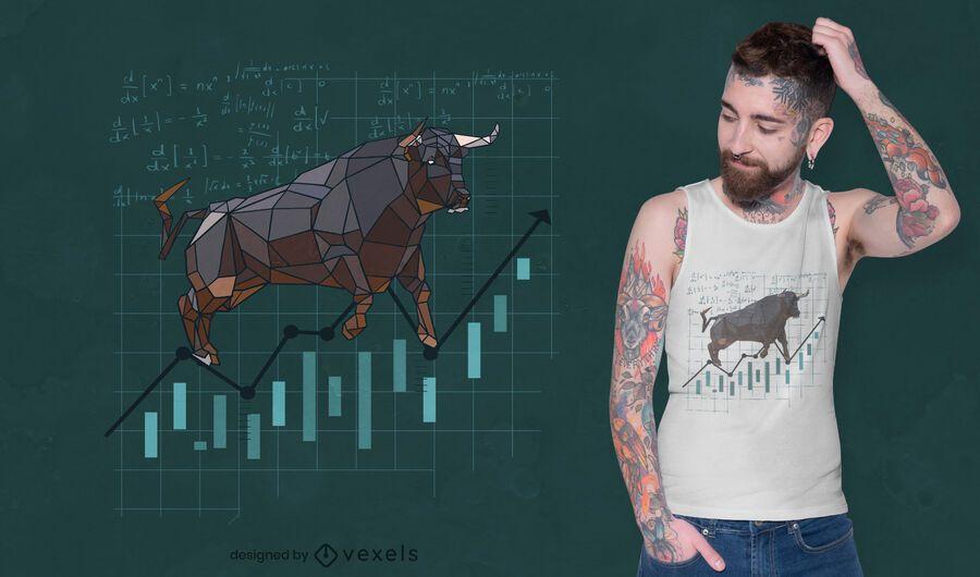 Diseño de camiseta de stock de toro poligonal