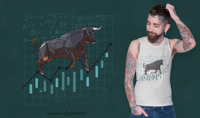 Design de t-shirt poligonal de touro