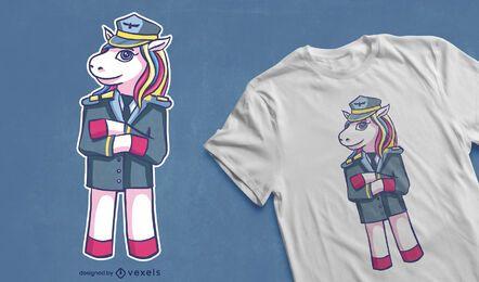 Design de camiseta piloto unicórnio