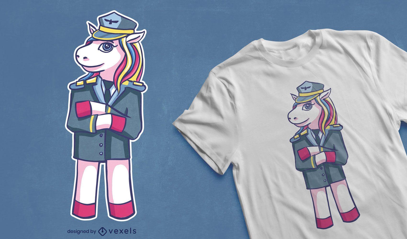 Dise?o de camiseta piloto unicornio.