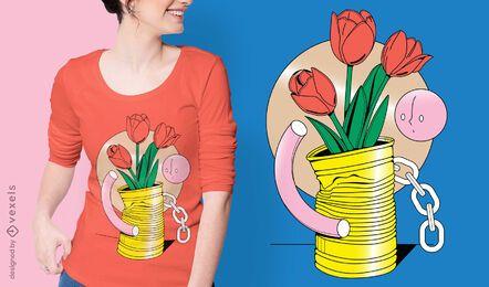 Diseño de camiseta de flores abstractas