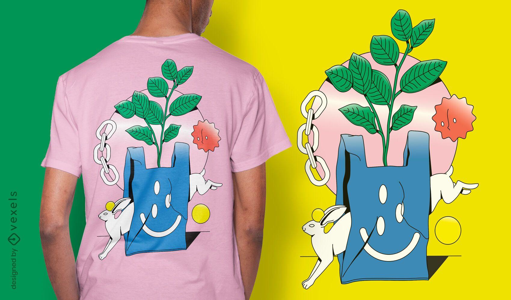 Abstract bag t-shirt design