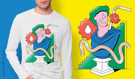Diseño de camiseta de escultura surrealista.