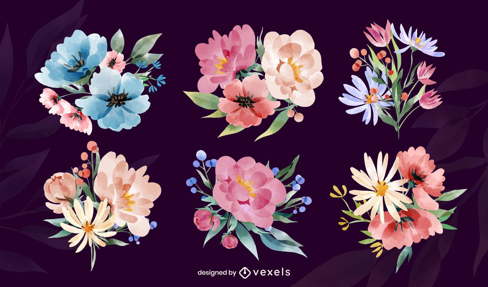 Conjunto de arranjos de flores em aquarela