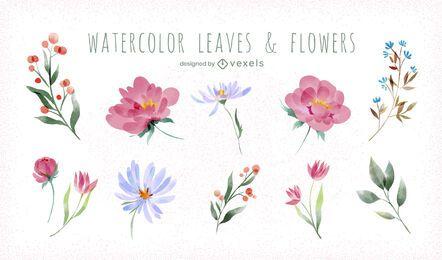 Conjunto de flores em aquarela de primavera