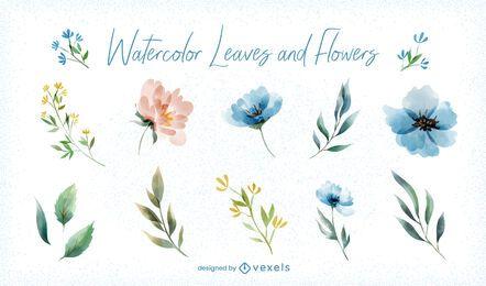 Conjunto de flores com folhas em aquarela