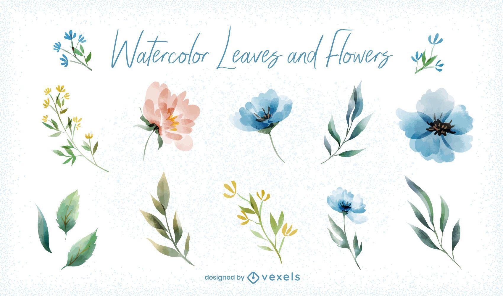 Watercolor leaves flowers set