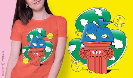 Diseño de camiseta de elementos surrealistas.