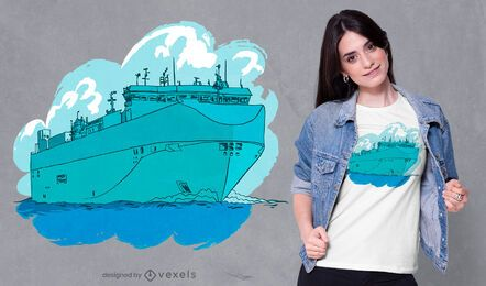 Diseño de camiseta de barco mar