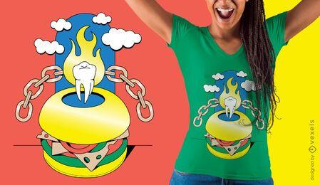 Diseño de camiseta de hamburguesa surrealista
