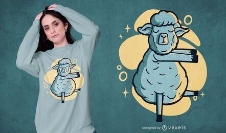Diseño de camiseta de oveja sonámbula.