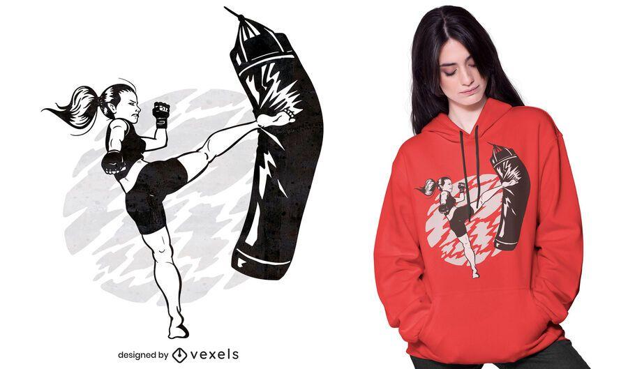 Woman high kick t-shirt design