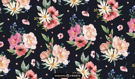 Diseño de patrón de flores de primavera acuarela