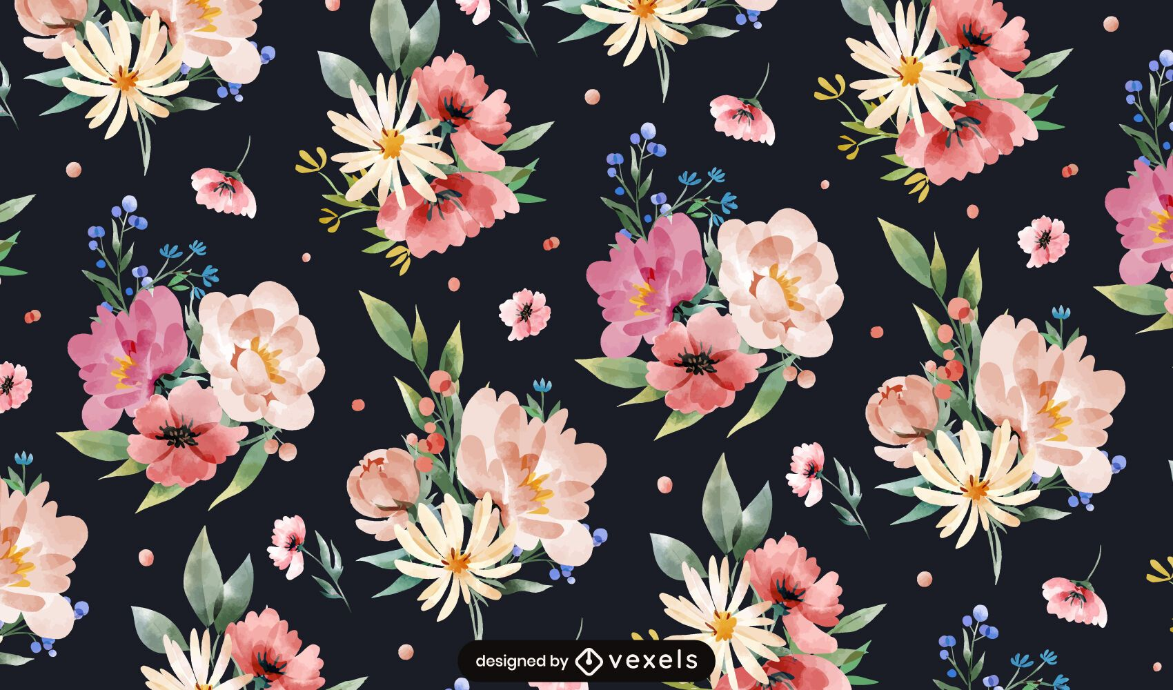 Watercolor spring flowers pattern design