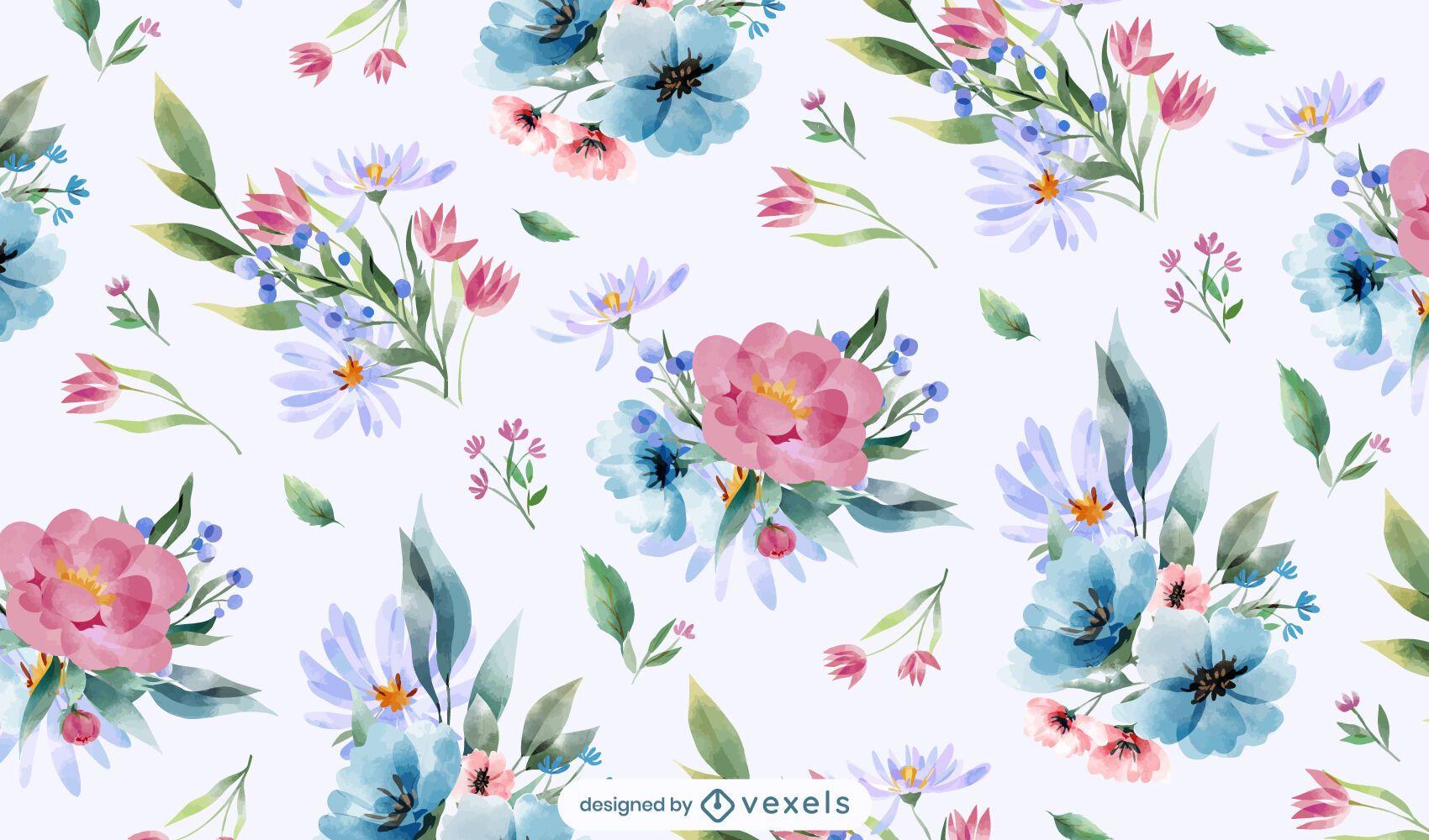 Spring watercolor flowers pattern design