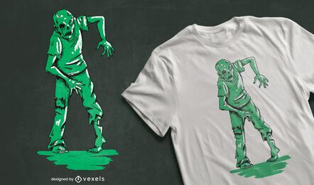 Design de camiseta verde zumbi