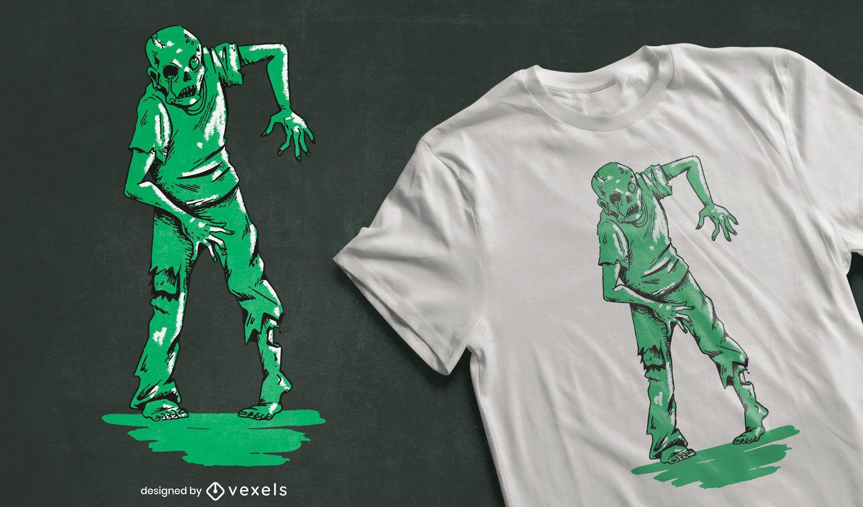Diseño de camiseta verde zombie