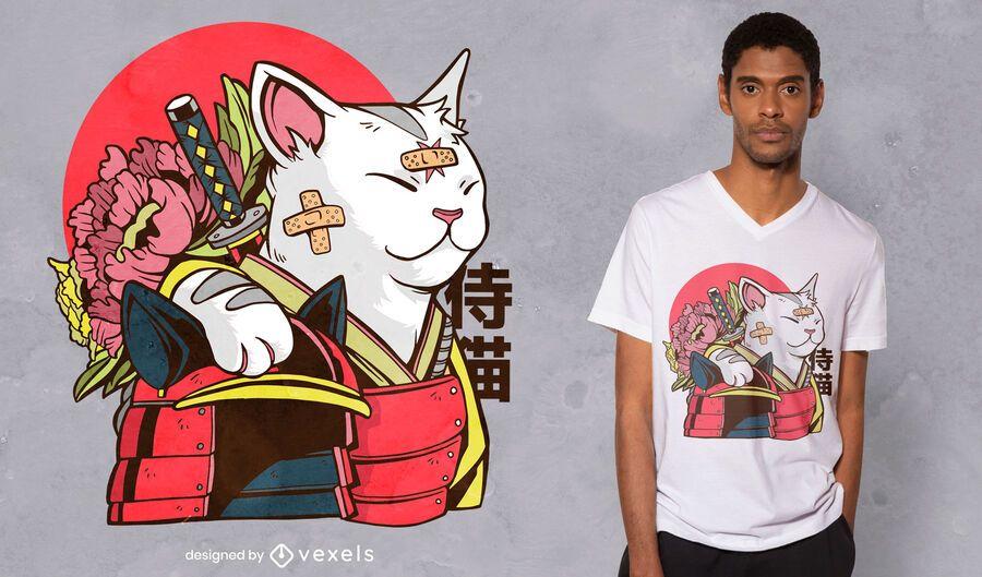 Diseño de camiseta cat samurai