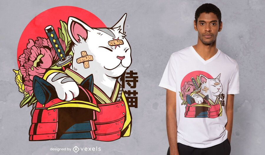 Katze Samurai T-Shirt Design