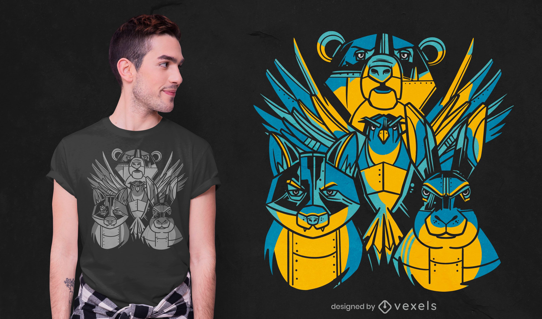 Diseño de camiseta de animales robot.