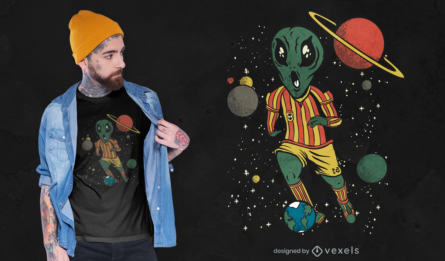 Soccer player alien t-shirt design