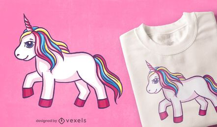 Diseño de camiseta de unicornio corriendo