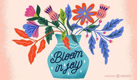 Ilustração texturizada de vaso de flores