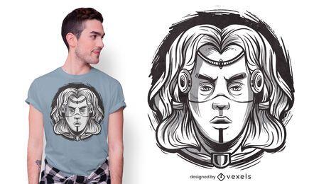 Diseño de camiseta mujer vikinga
