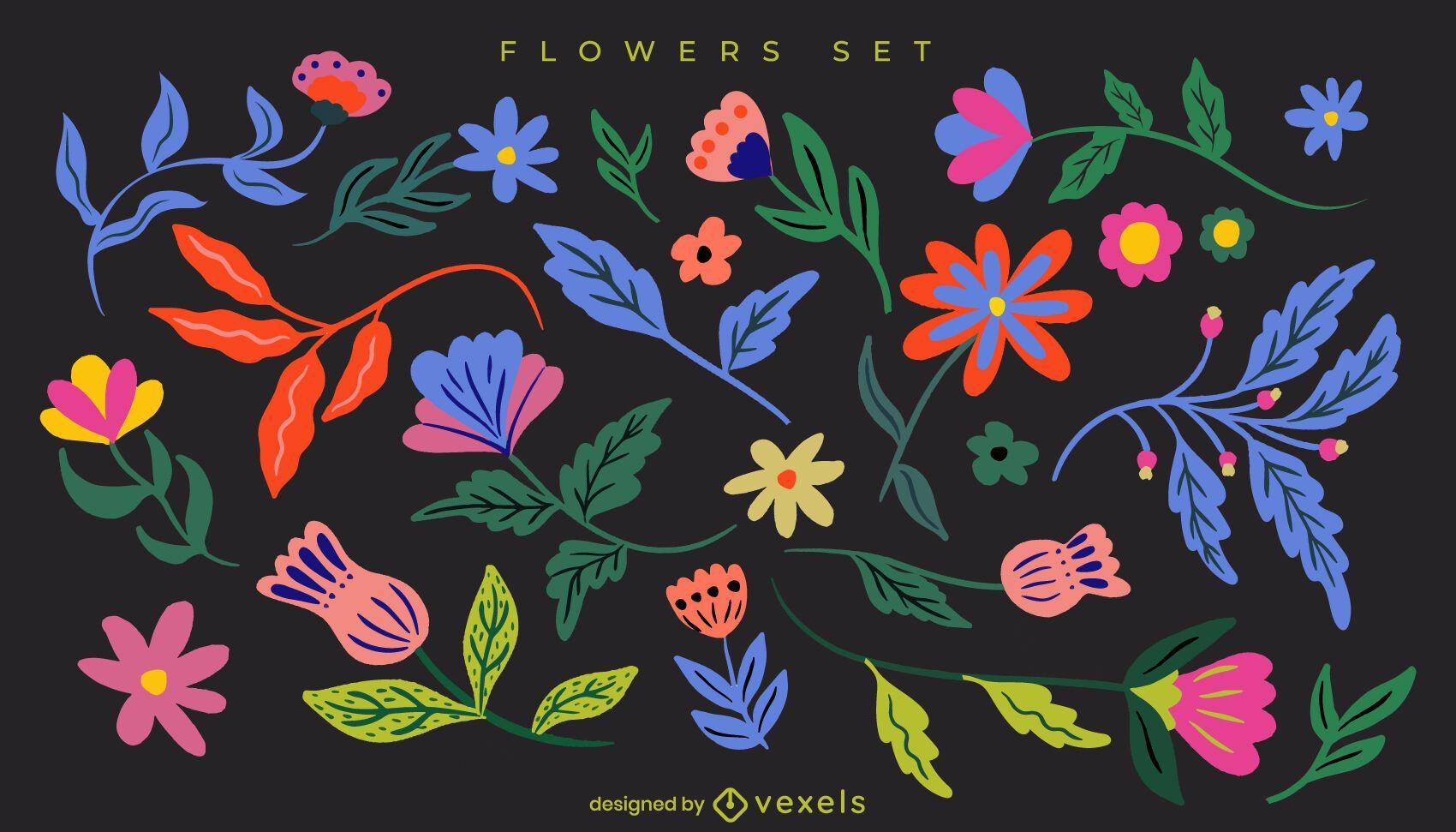 Conjunto de flores e folhas planas