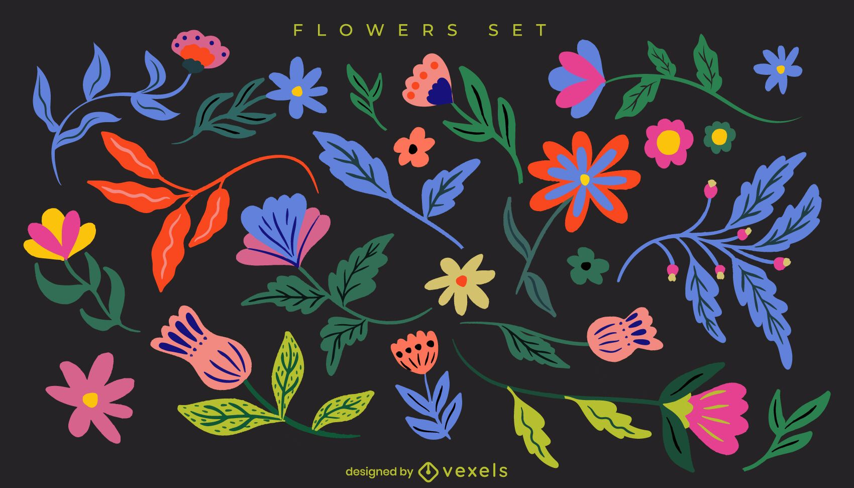 Flat flowers and leaves set