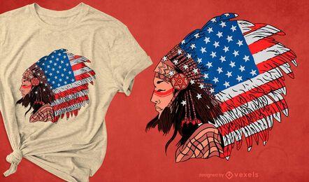 T-Shirt-Design der indianischen Frau