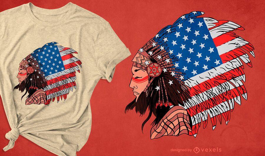 Diseño de camiseta de mujer nativa americana.