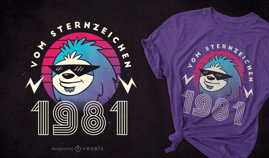 Diseño de camiseta Sloth 1981