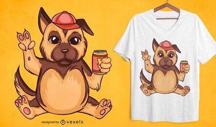 Diseño de camiseta de dibujos animados de pastor alemán