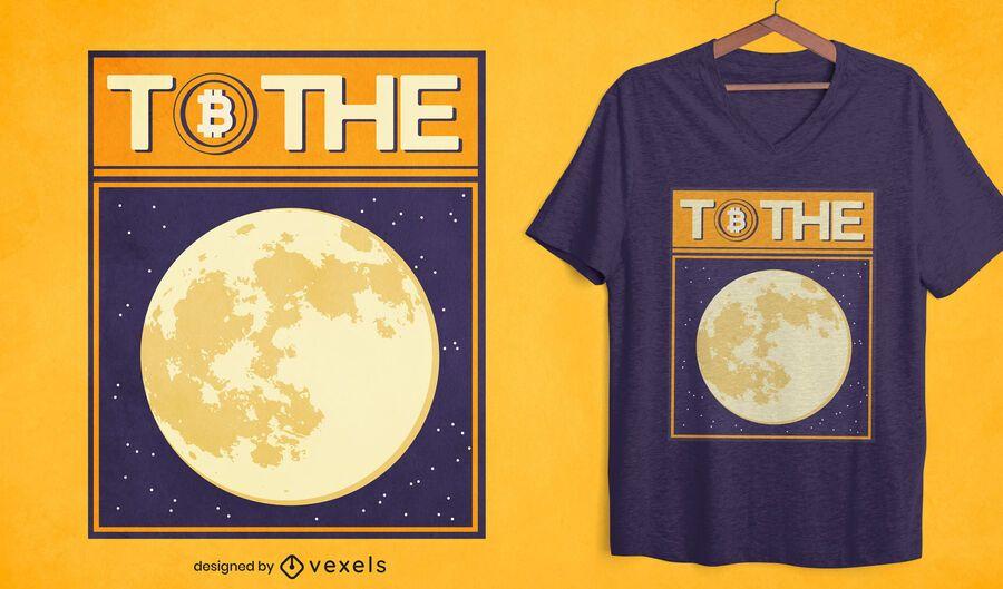 Design de camiseta lua Bitcoin