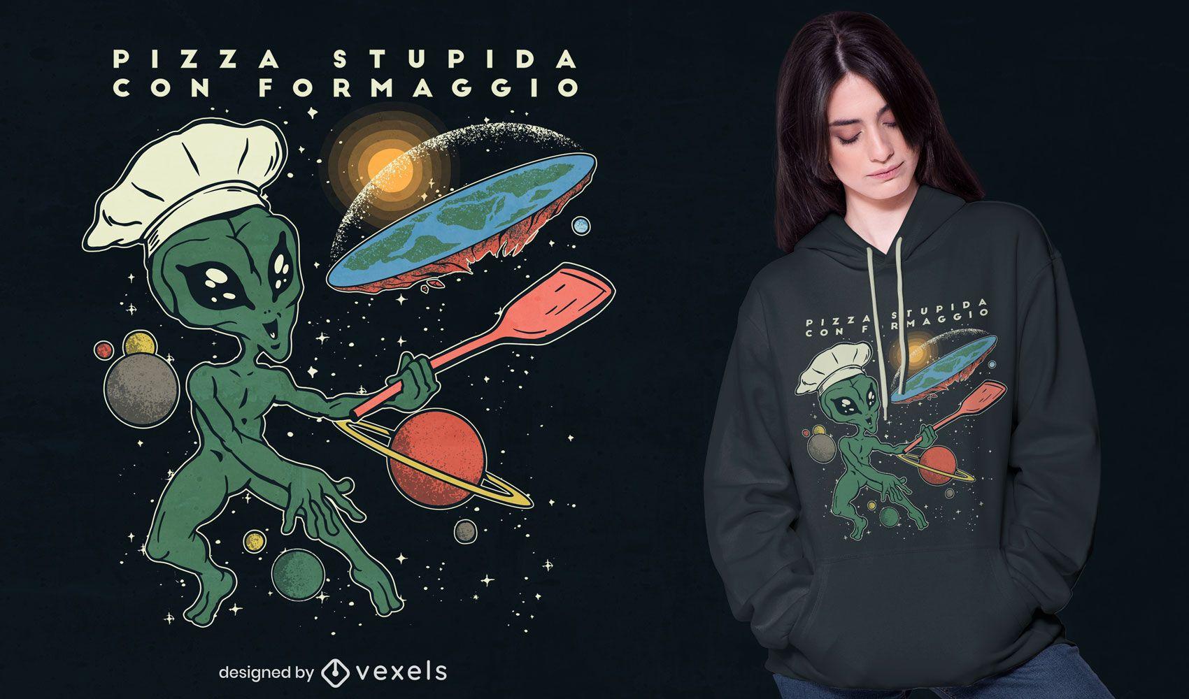Diseño de camiseta Alien Flat Earth