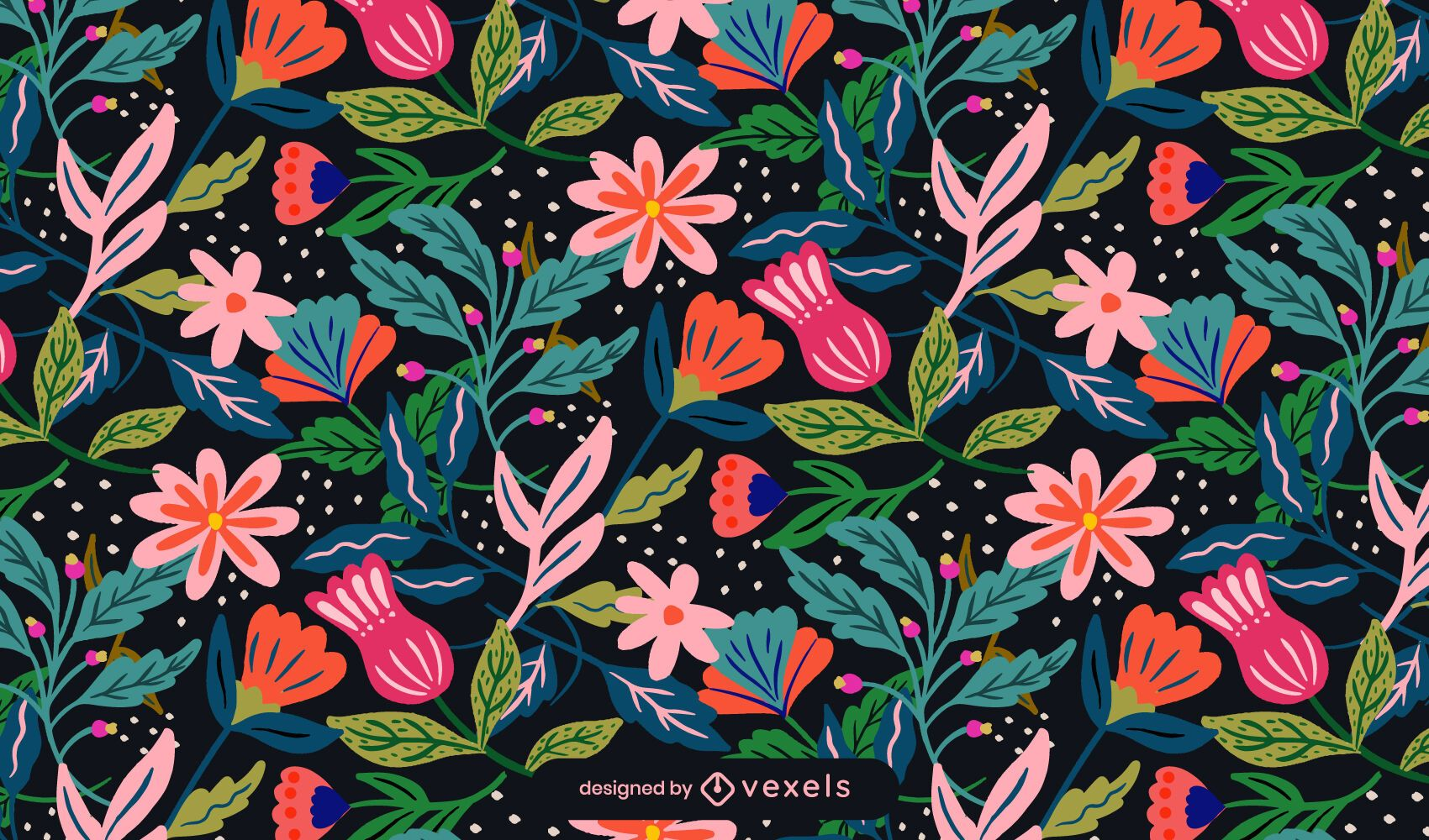 Diseño de patrón de primavera de flores
