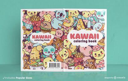 Desenho da capa do livro de colorir Kawaii