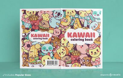 Kawaii coloring book cover design