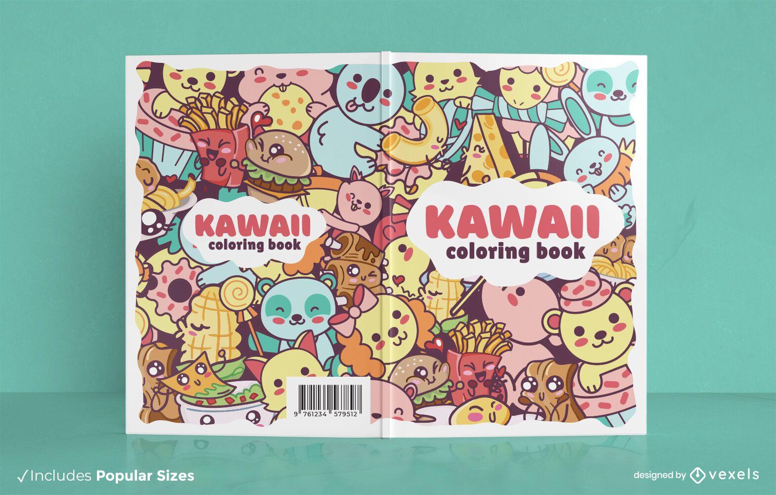 Kawaii coloring book cover design