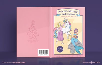 Princess mermaid unicorn book cover design
