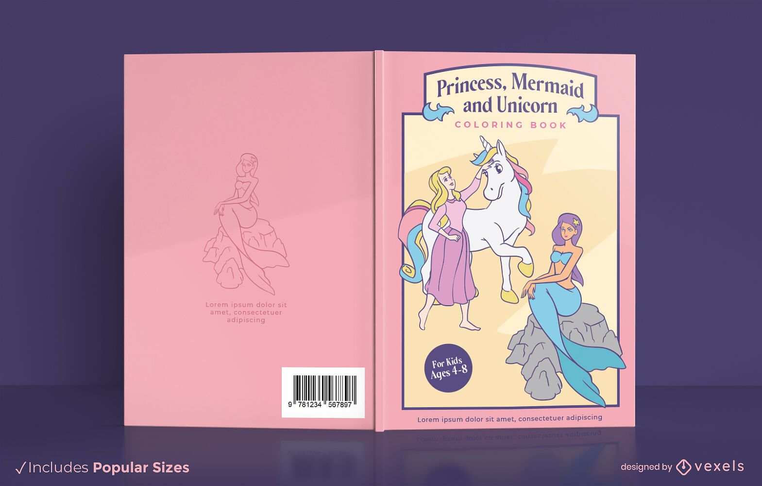 Princess mermaid unicorn book cover design