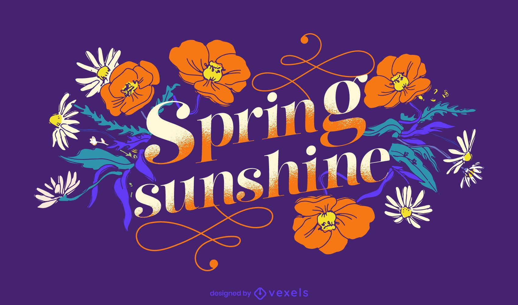 Diseño de letras de sol de primavera