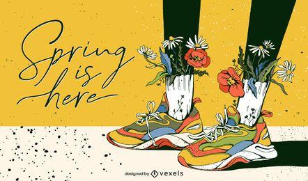 Der Frühling ist hier Illustrationsdesign