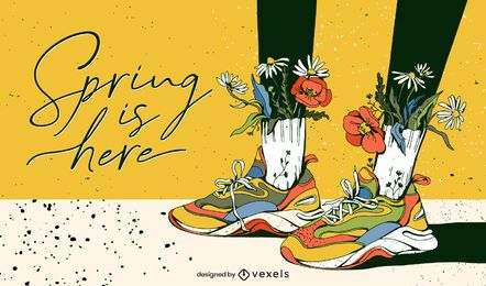 Spring is here illustration design