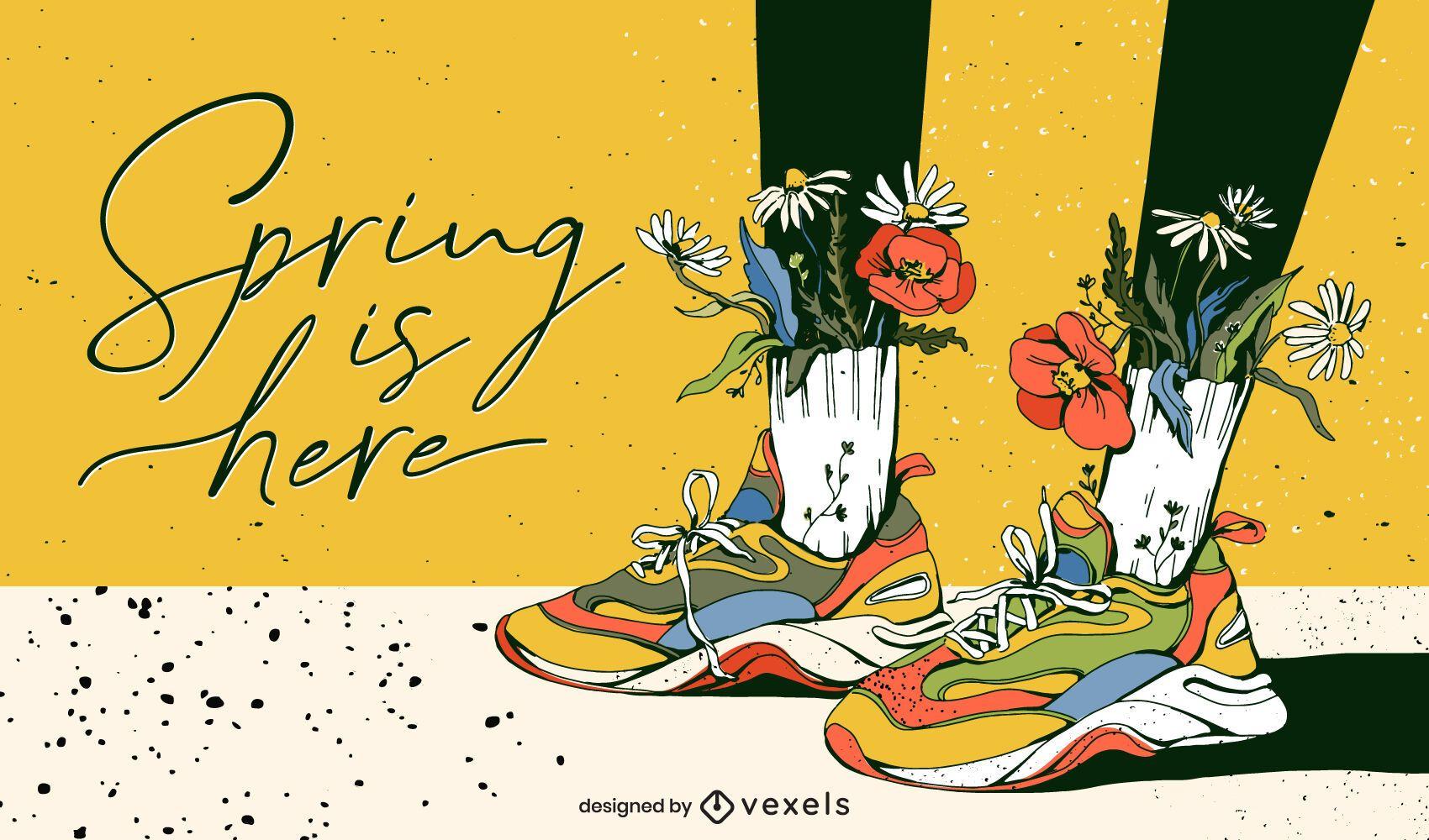 La primavera está aquí, diseño de ilustraciones