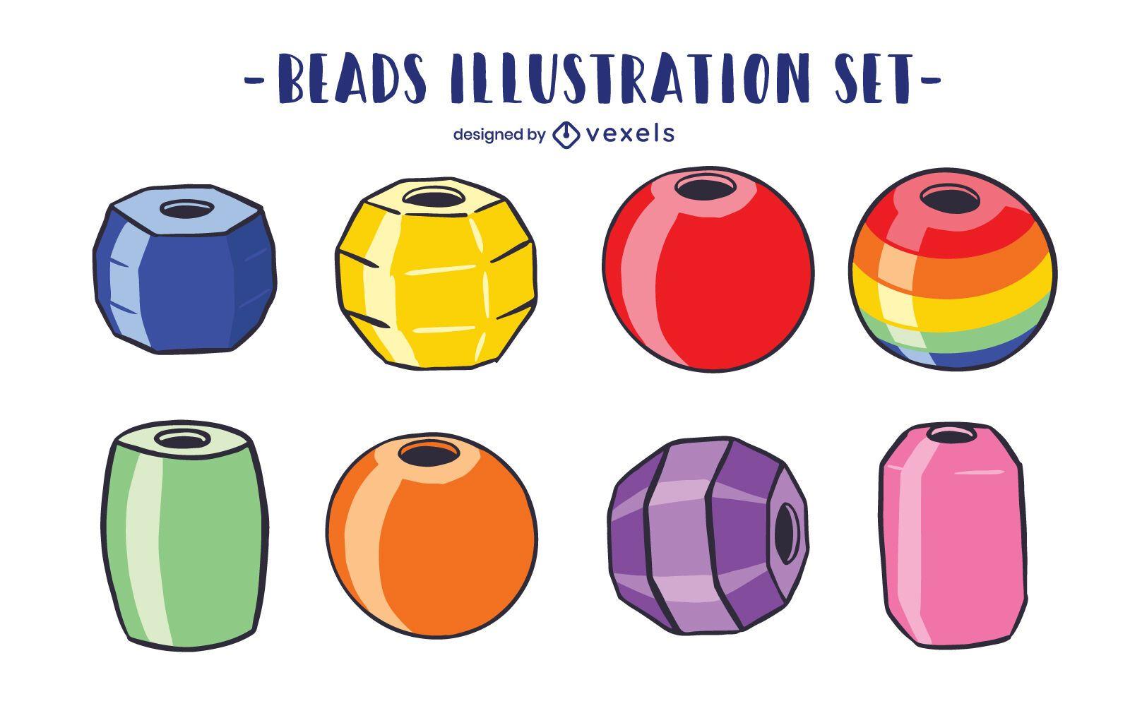 Beads illustration set