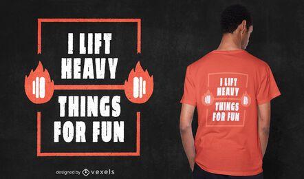 Divertido diseño de camiseta de levantamiento de pesas.