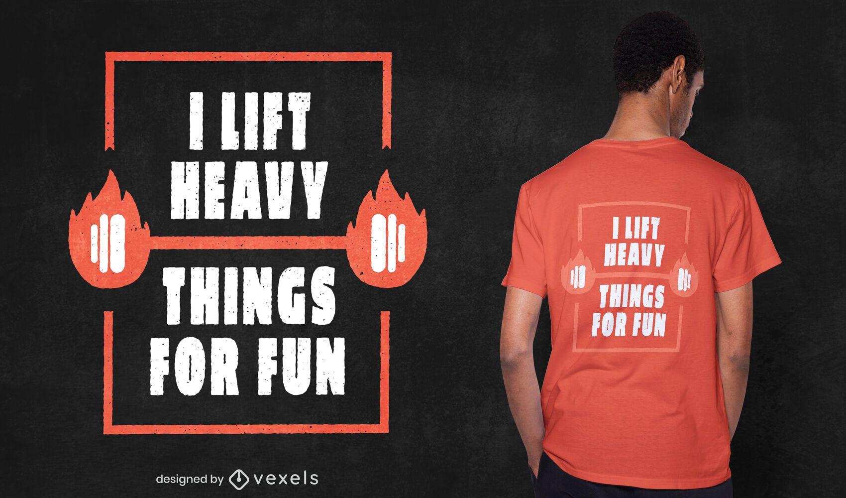 Divertido dise?o de camiseta de levantamiento de pesas.